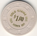 Gold Strike Inn $1 (White, reads Hoover Dam) - Spinettis Gaming - 1