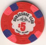 HorseShoe Club Reno $5 (red w/ pnk/blueInserts) chip - Spinettis Gaming
