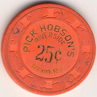 Riverside Pick Hobson's Casino Reno NV 25 Cent Chip 1978