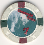 Commercial Hotel $1 (white 1994) Chip - Spinettis Gaming - 1