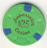 Ambassador Casino $25 (1978) Chip - Spinettis Gaming - 1