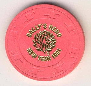 Ballys Casino ( hot pink 1991) Chip - Spinettis Gaming - 1