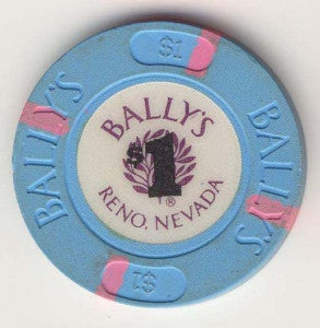 Bally's Casino Reno $1 (blue 1986) Chip - Spinettis Gaming
