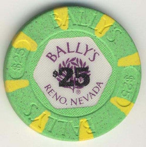 Bally's Casino Reno $25 (green 1986) Chip - Spinettis Gaming - 1