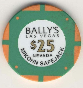 Bally's Casino Las Vegas $25 (Mikohn Safejack 1996) Chip - Spinettis Gaming