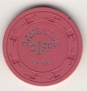 Bank Club Ely, NV $1 (dr.pink 1960) Chip - Spinettis Gaming - 1
