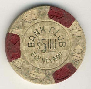 Bank Club Ely $5 (beige 1965) Chip - Spinettis Gaming - 1