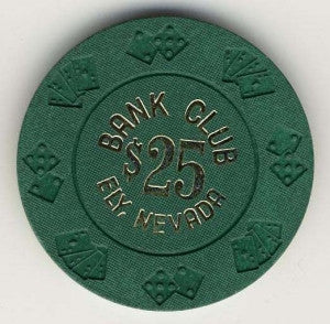 Bank Club Ely $25 (dr green 1962) Chip - Spinettis Gaming - 1