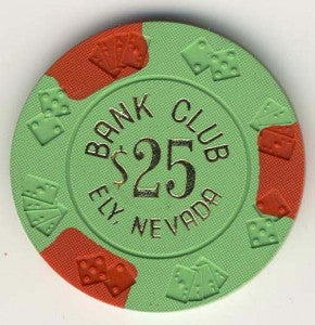 Bank Club Ely $25 (lt green 1965) Chip
