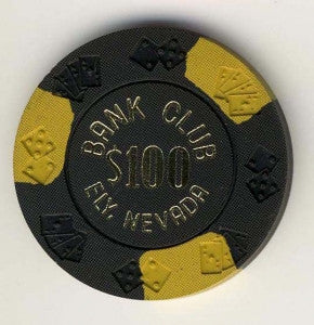 Bank Club Ely $100 ( black 1962) Chip - Spinettis Gaming - 1