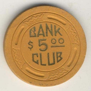 Bank Club Searchlight $5 (mustard 1946) Chip - Spinettis Gaming - 1