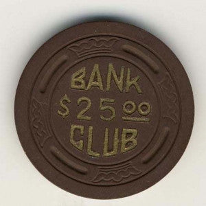 Bank Club Searchlight $25 (brown 1946) Chip - Spinettis Gaming - 1