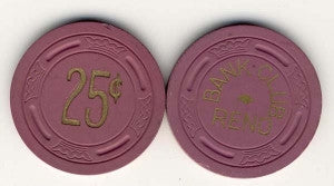 Bank Club Reno 25 (purple 1946) Chip - Spinettis Gaming - 1