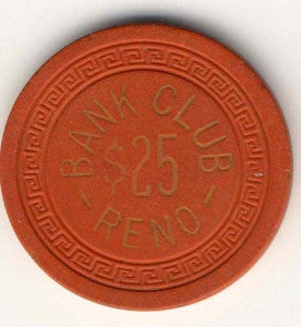 Bank Club Reno $25 (orange 1949) Chip - Spinettis Gaming - 1