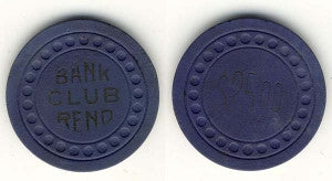 Bank Club Reno $25 (navy 1948) Chip - Spinettis Gaming - 1