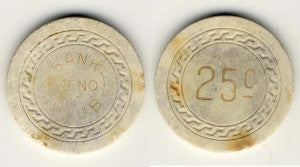 Bank Club Reno 25 cent (off-white 1930s) Chip - Spinettis Gaming