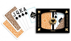 Copag 1546 Orange/Brown Poker Size 2 deck setup - Spinettis Gaming - 1