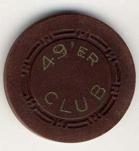 49'er Club Las Vegas Roulette Brown Chip 1950s