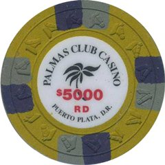 Palmas Club Casino $5000 Chip Puerto Plata, Dominican Republic