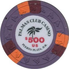 Palmas Club Casino $500 Chip Puerto Plata, Dominican Republic