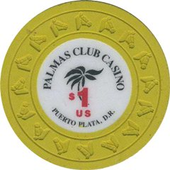 Palmas Club Casino $1 Chip Puerto Plata, Dominican Republic