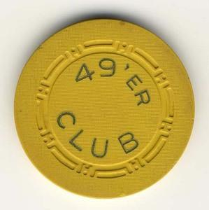 49'er Club Las Vegas Yellow Chip 1950s