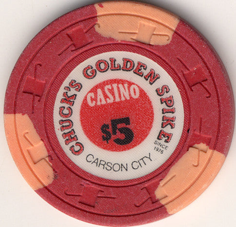Chuck's Golden Spike Casino Carson City NV $5 Chip 1976