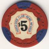 HorseShoe Club $5 (Red w/ Blue Insert) chip - Spinettis Gaming - 1