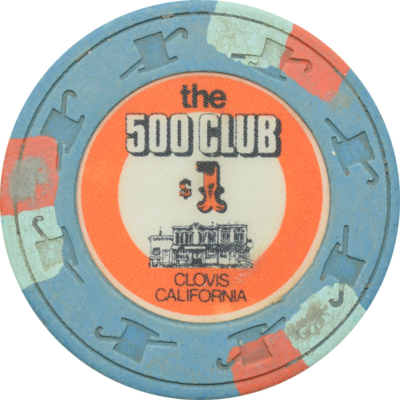 500 Club Casino Clovis California $1 Chip