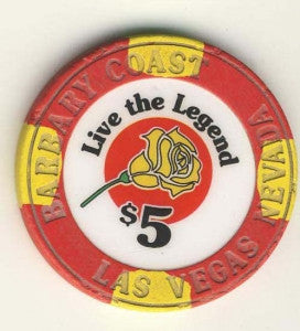 Barbary Coast Casino $5 ( live the lagend; red 1998) Chip