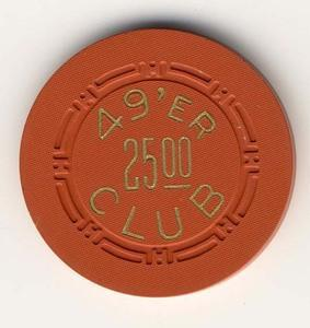 49'er Club Las Vegas $25 Chip 1951
