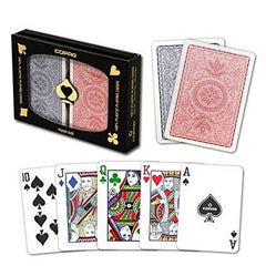 Copag 4-Color Red/Blue Poker Size 2 deck setup with Protective Display Case