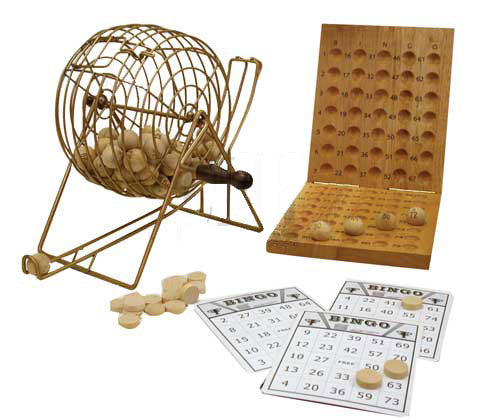 Bingo Set with cage, balls, cards and board
