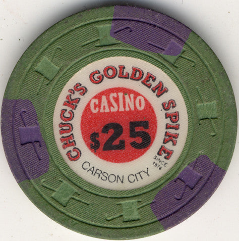 Chuck's Golden Spike Casino Carson City NV $25 Chip 1976