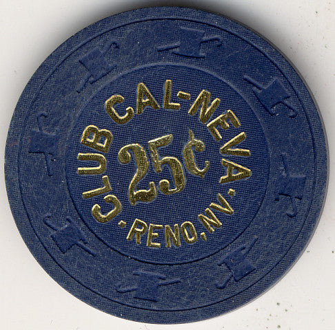 Club Cal-Neva 25 (navy 1908s) Chip - Spinettis Gaming - 1
