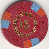 Gold Strike Inn $5 (red) chip - Spinettis Gaming - 1