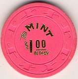 The Mint $1 (bright-pink) chip - Spinettis Gaming - 2