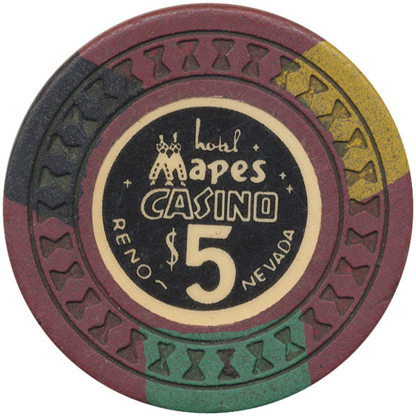 Mapes Casino $5 (brown, hourglass mold) Chip