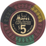 Mapes Casino $5 (brown, hourglass mold) Chip - Spinettis Gaming - 2