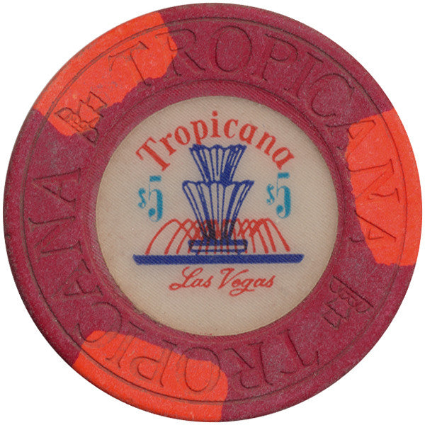 Tropicana Las Vegas $5 red (3-orange inserts) chip