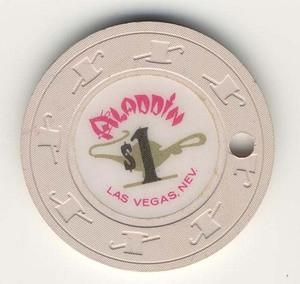 Aladdin Las Vegas $1 Chip 1980s Drilled