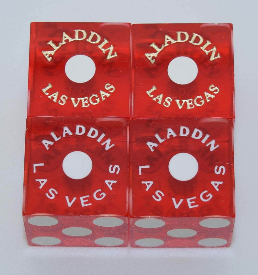 Aladdin Used Red Las Vegas Casino Pair of Dice Matching Numbers 2000's