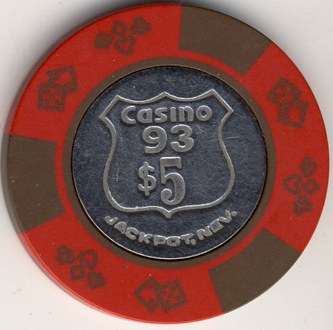 Casino 93 Jackpot NV $5 Chip 1970s