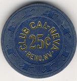 Club Cal-Neva 25cent (slanted cent sign navy 1908s) Chip - Spinettis Gaming