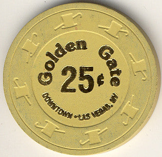 Golden Gate 25cent (light yellow) chip 1990s - Spinettis Gaming