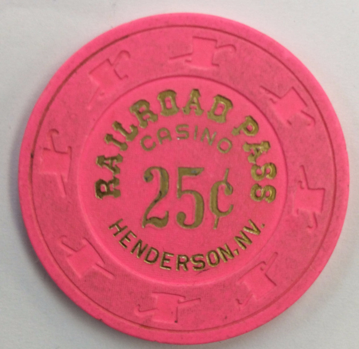 Railroad Pass Casino 25cent (pink) chip - Spinettis Gaming