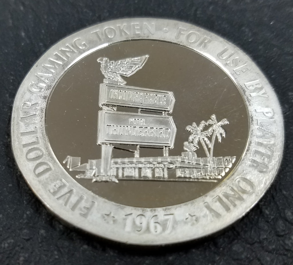 1967 Thunderbird $5 Proof Like 44mm Casino Token Las Vegas Nevada