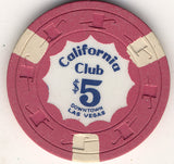 California Club $5 pink (3-beige inserts) Chip - Spinettis Gaming - 1