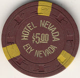 Hotel Nevada $5 (brown) chip - Spinettis Gaming - 1
