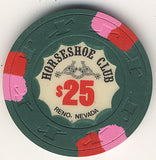 HorseShoe Club $25 green (pnk/red inserts) chip - Spinettis Gaming - 1